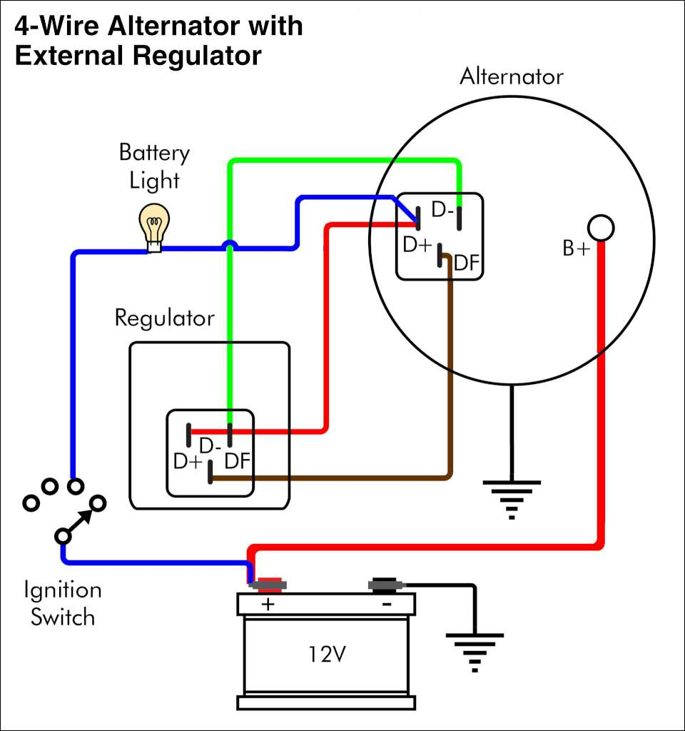 troubleshooting an alternator warning light bmw car club of america on an old four wire alternator an external regulator the wiring looks like this